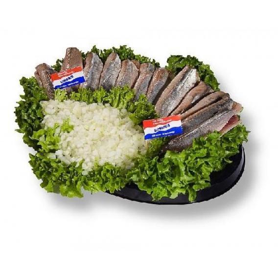 Schaal Met 10 Hollandse Nieuwe Haringen Simonis Vishandel